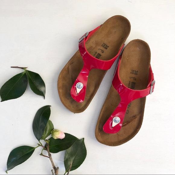 6e44184065999 Birkenstock Shoes - Birkenstock Gizeh tango red patent thong sandal S2